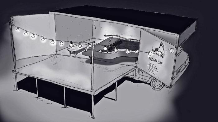 L'incroyable camion-scène d'un pianiste tout-terrain