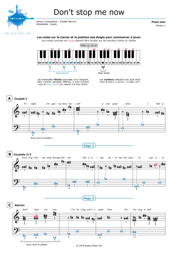 don t stop me now piano pdf
