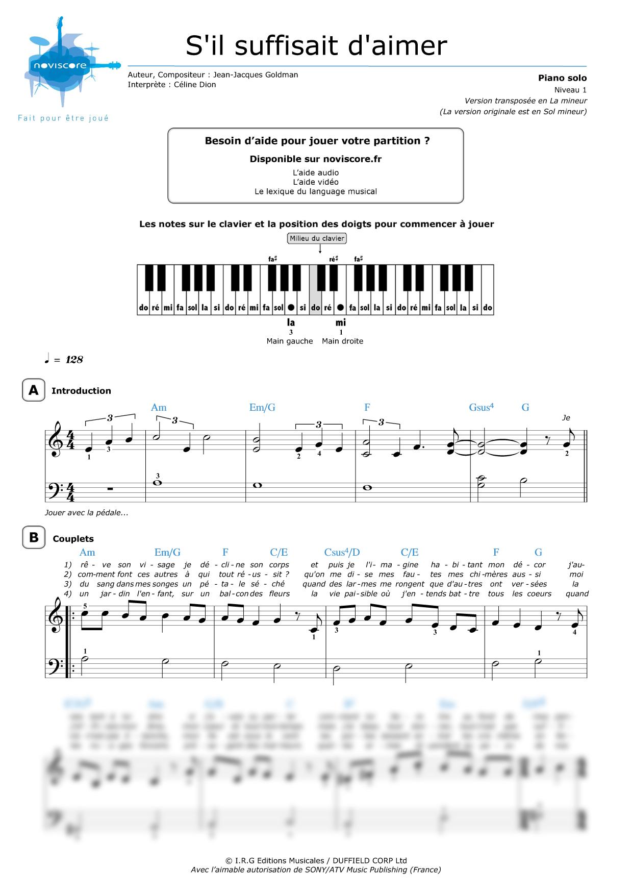 partition piano gratuite s il suffisait d aimer