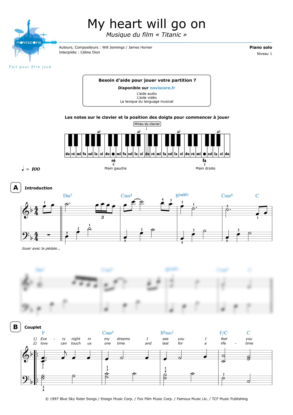 partition musique titanic piano