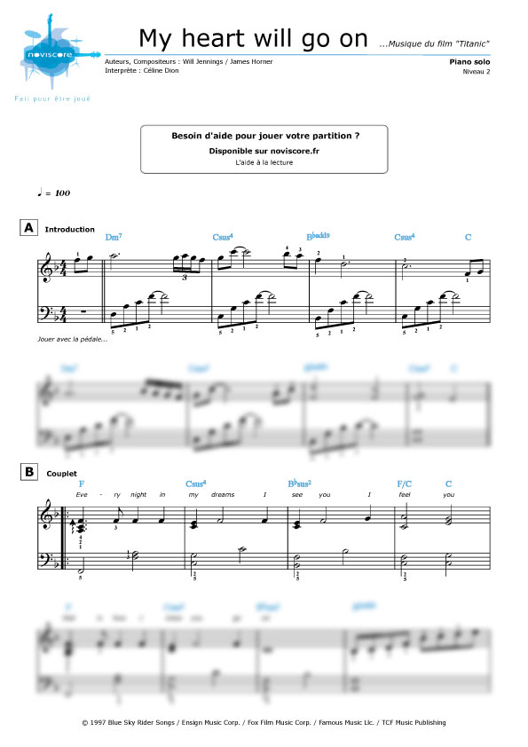 Partition piano facile titanic for Piano piano facile