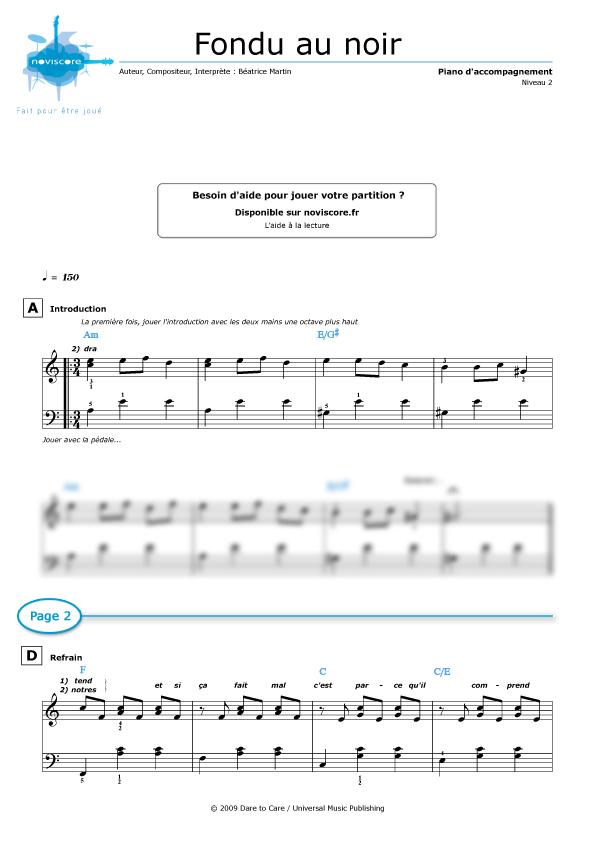 mistral gagnant piano partition gratuite pdf