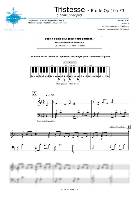 partition musique triste