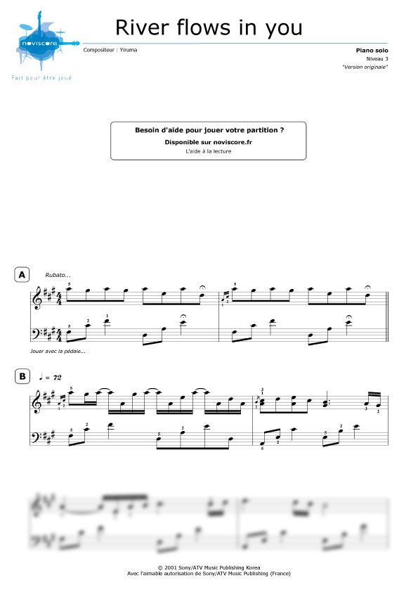 Préférence Partition piano River flows in you - partition film Twilight (Yiruma) CH23