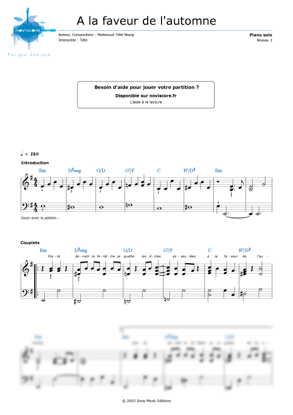 partition guitare a la faveur de l'automne