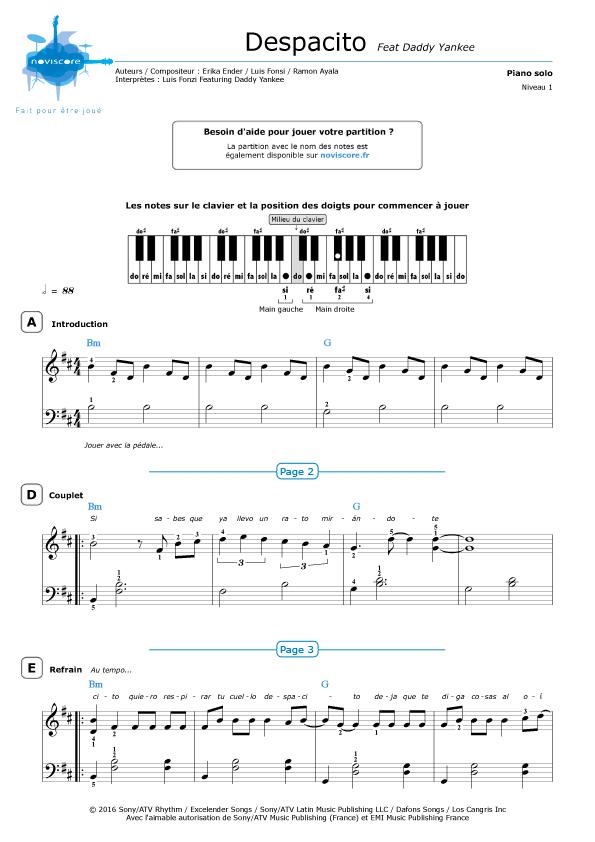 Despacito Partition Piano Gratuite