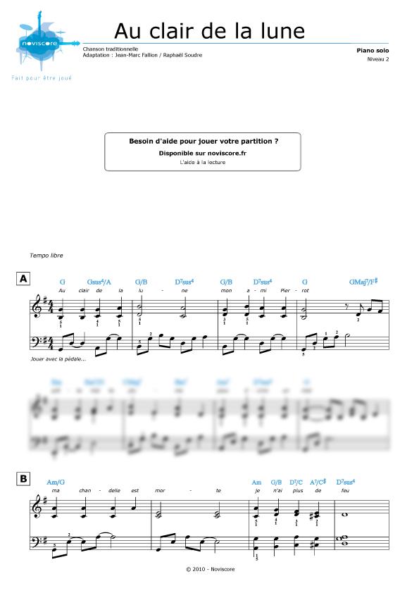 partition musique piano au clair de la lune