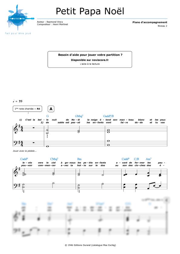 partition piano joyeux noel