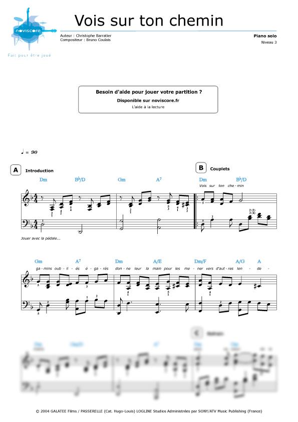 partition musique vois sur ton chemin