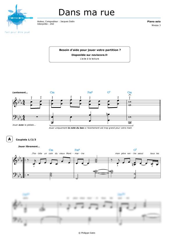 partition piano zaz dans ma rue gratuite