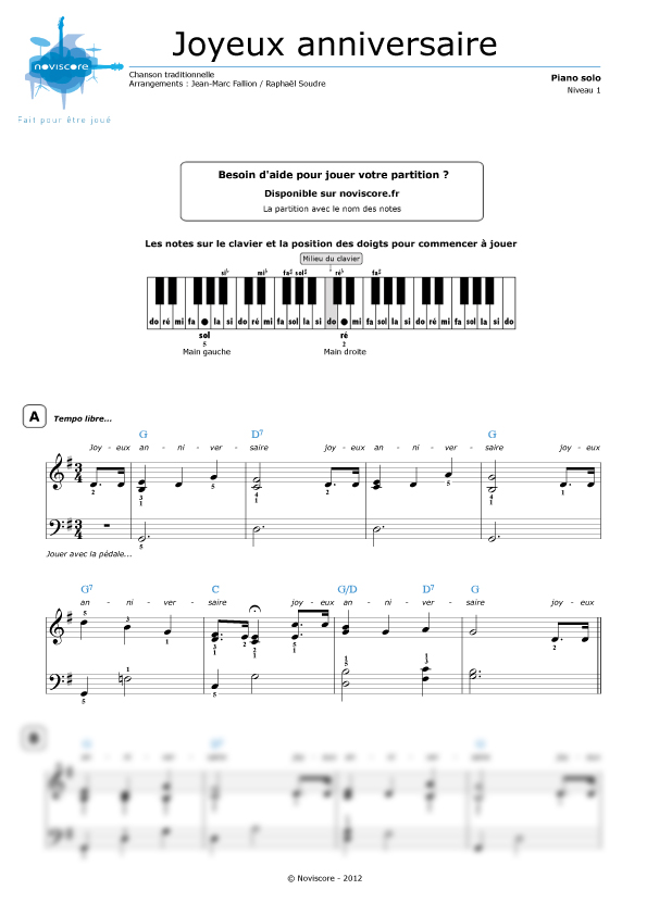 Partition piano ecrite