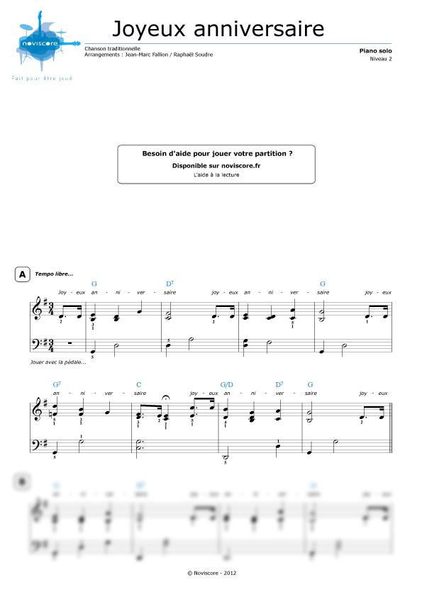partition piano joyeux anniversaire chanson pour enfants partitions noviscore. Black Bedroom Furniture Sets. Home Design Ideas