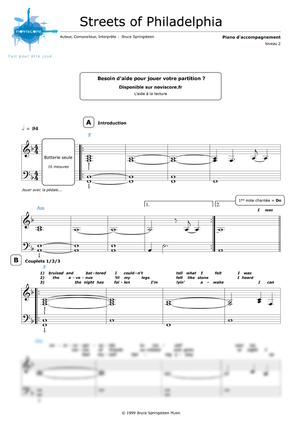 partition piano springsteen