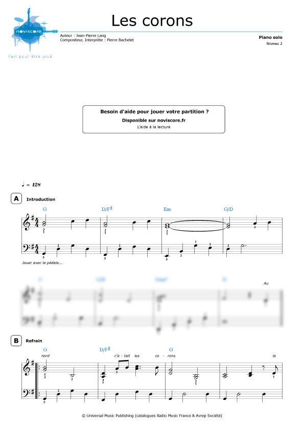 Partition Piano Les Corons Pierre Bachelet Partitions Noviscore