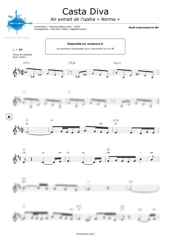 Partition casta diva extrait de l 39 op ra norma - Norma casta diva testo ...