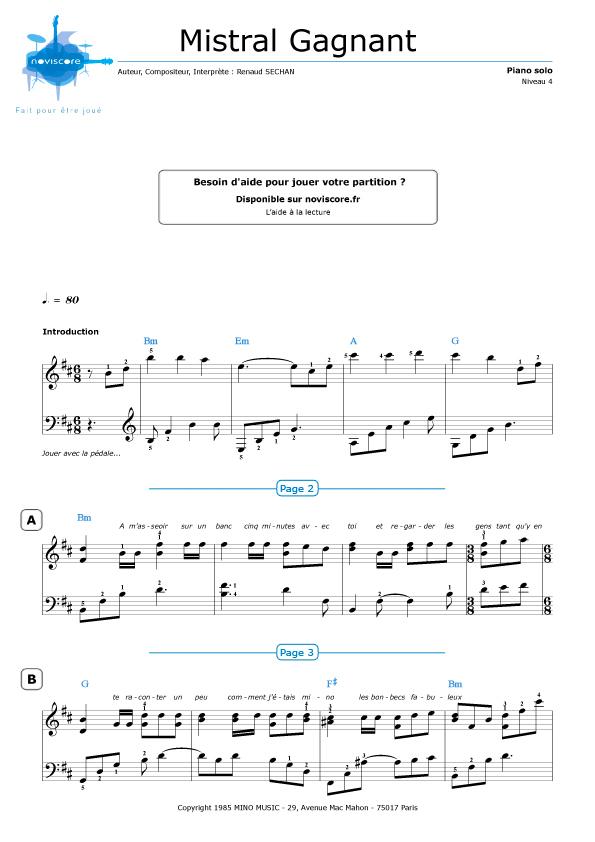 partition piano mistral gagnant a imprimer