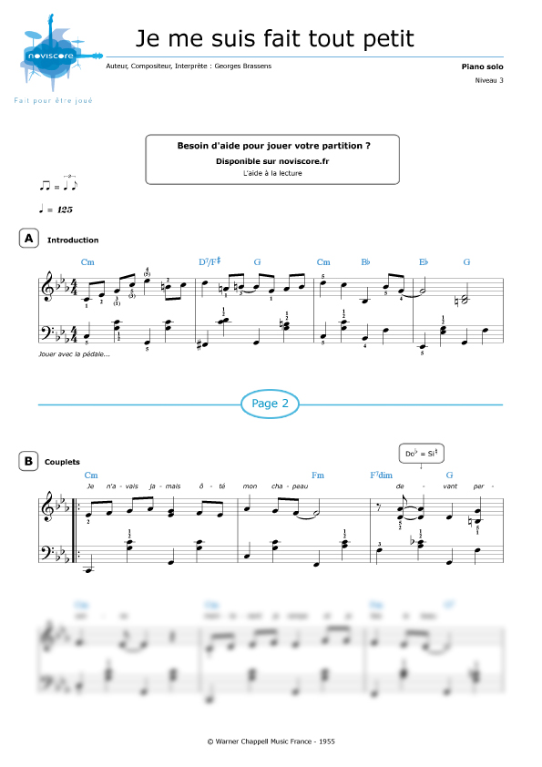 Partition piano je me suis fait tout petit georges brassens partitions noviscore - Je suis malade chanson ...