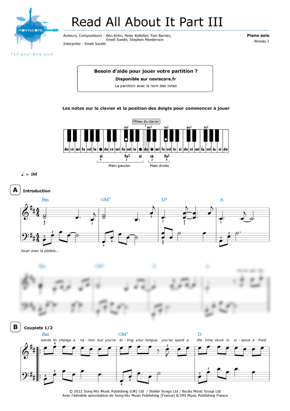 Partition piano read all about it