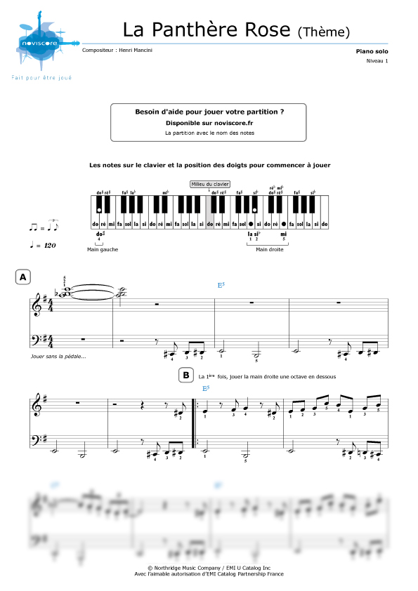 Partition piano la panth re rose th me henry mancini partitions noviscore - Panthere rose dessin anime ...