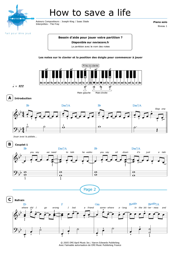 Partition piano how to save a life