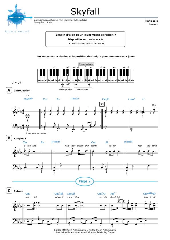 Très Partition piano Skyfall (Adele) | Partitions Noviscore BK88