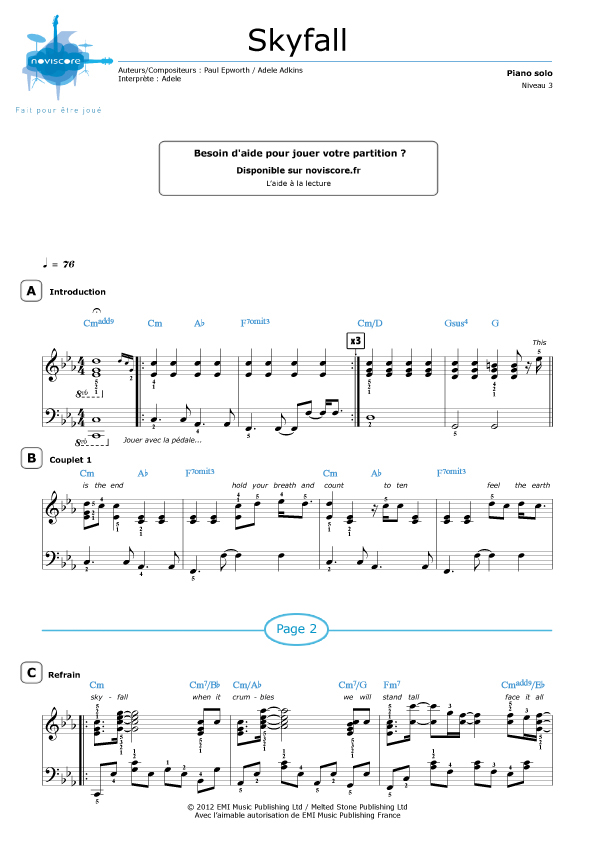 Partition piano 3 notes