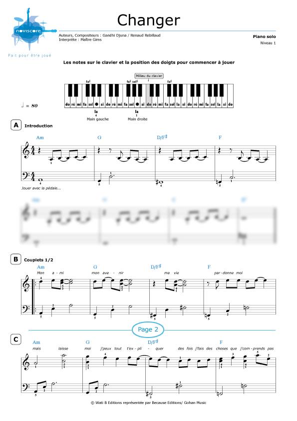 Souvent Partition piano Changer (Maître Gims) | Partitions Noviscore UG84
