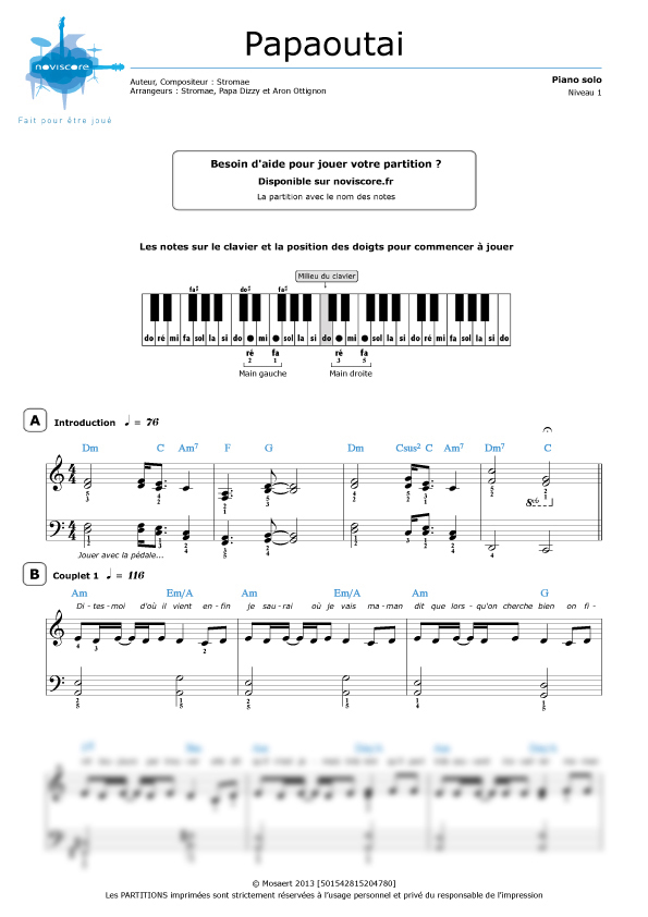 Populaire Partition piano Papaoutai (Stromae) | Partitions Noviscore KP62