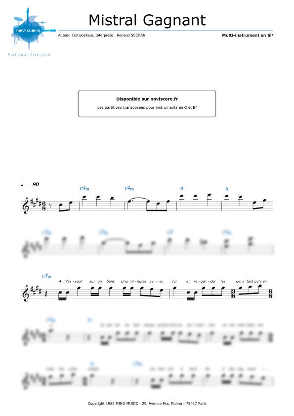 Partition piano gratuite a imprimer mistral gagnant