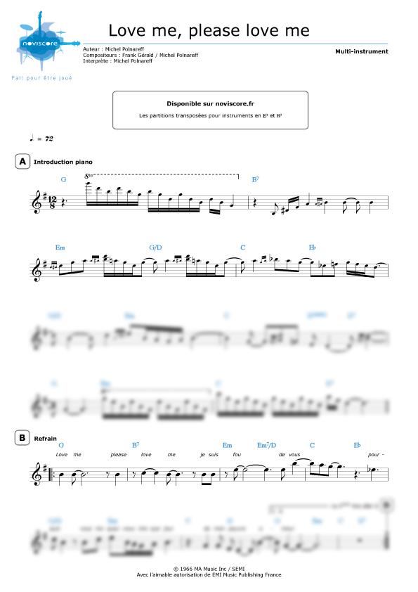 partition piano please love me