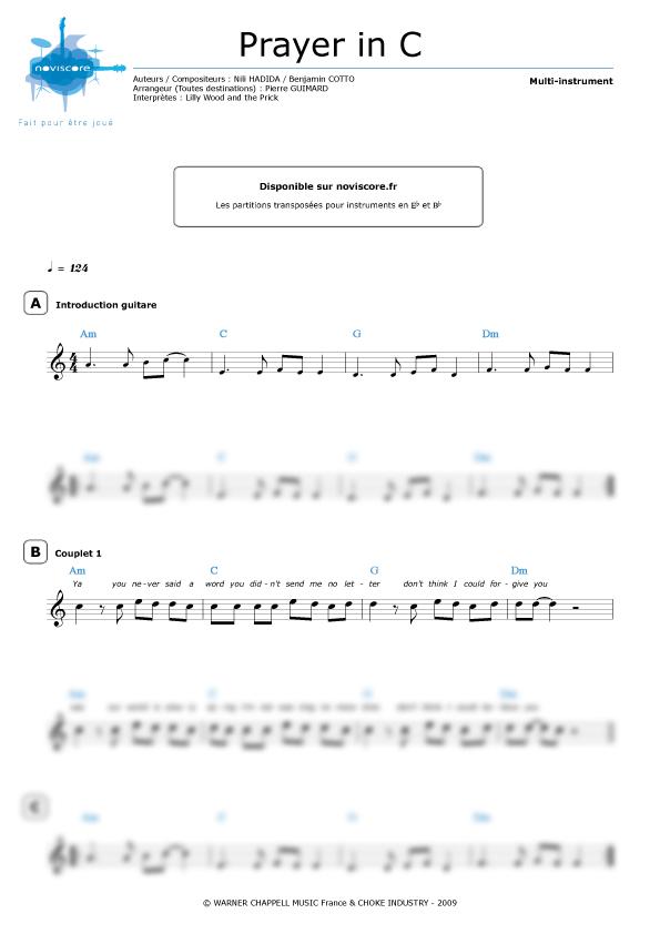 partition piano de prayer in c
