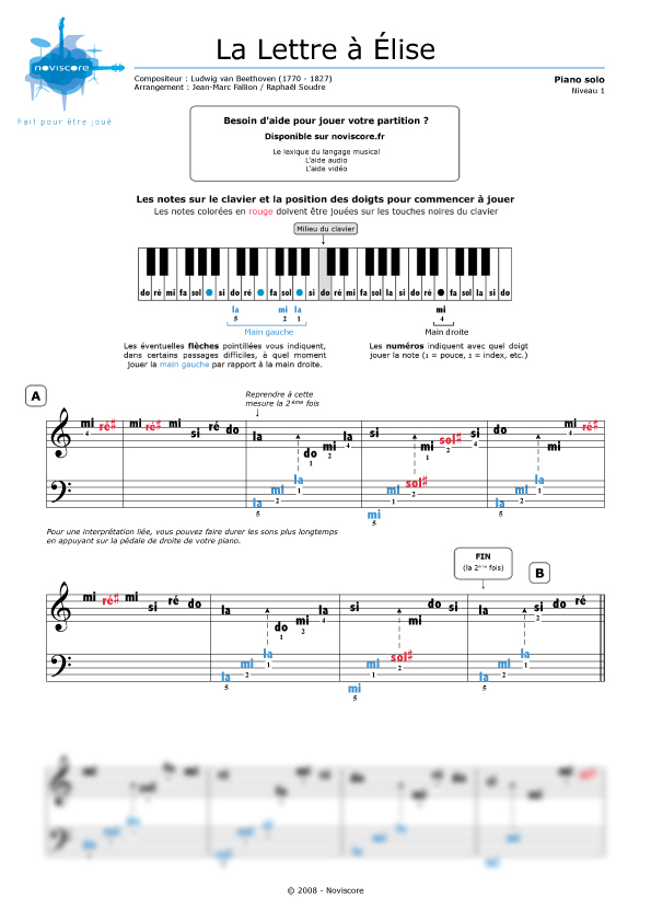 partition piano facile avec note