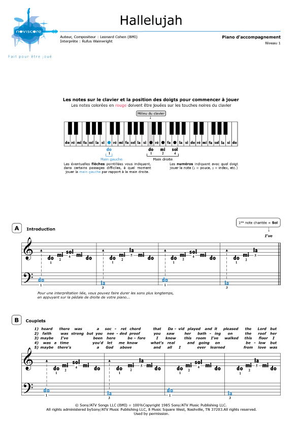 Populaire Partition piano Hallelujah (Rufus Wainwright) | Partitions Noviscore KP62