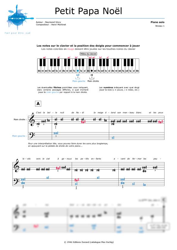 Partition Piano Petit Papa Noël Chanson De Noël Partitions Noviscore