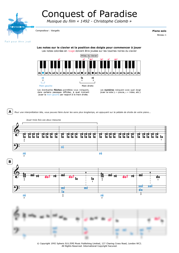 Partition piano 1492
