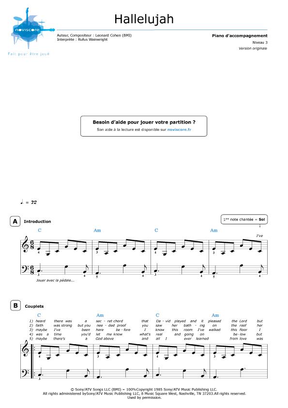 Piano hallelujah shrek piano sheet music : Partition piano Hallelujah (Rufus Wainwright) | Partitions Noviscore