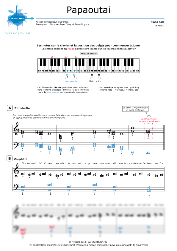 Extrêmement Partition piano Papaoutai (Stromae) | Partitions Noviscore HX15