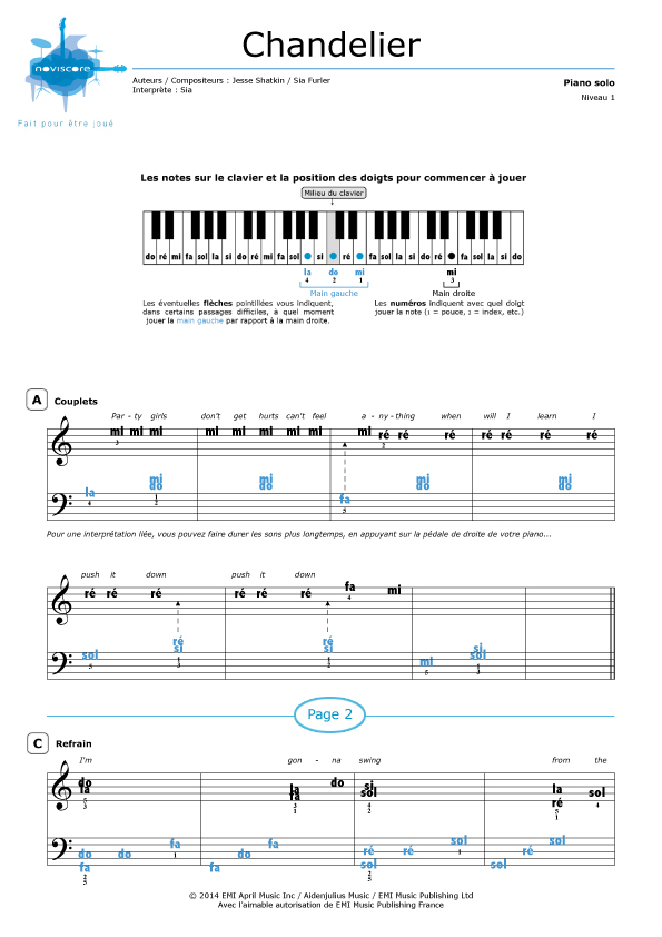 Super Partition piano Chandelier (Sia) | Partitions Noviscore JT49