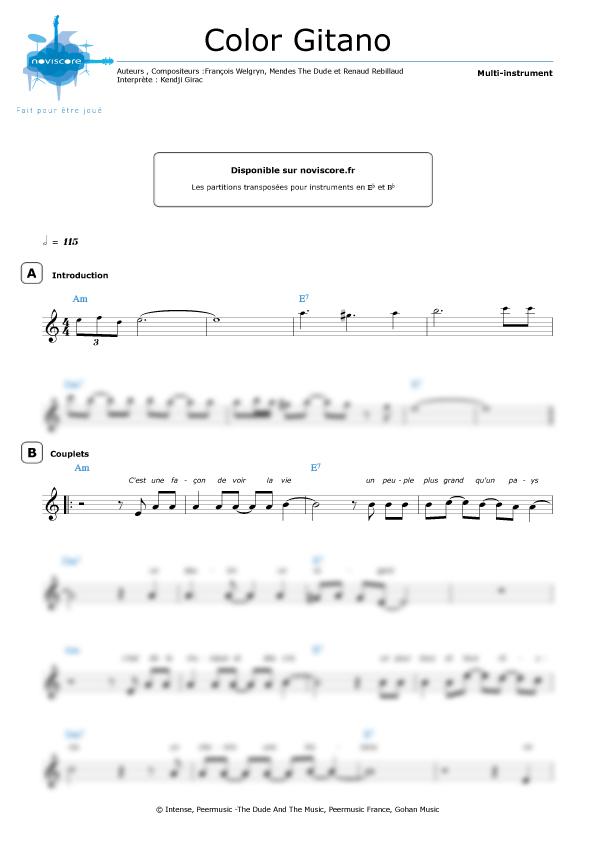 partition piano kendji