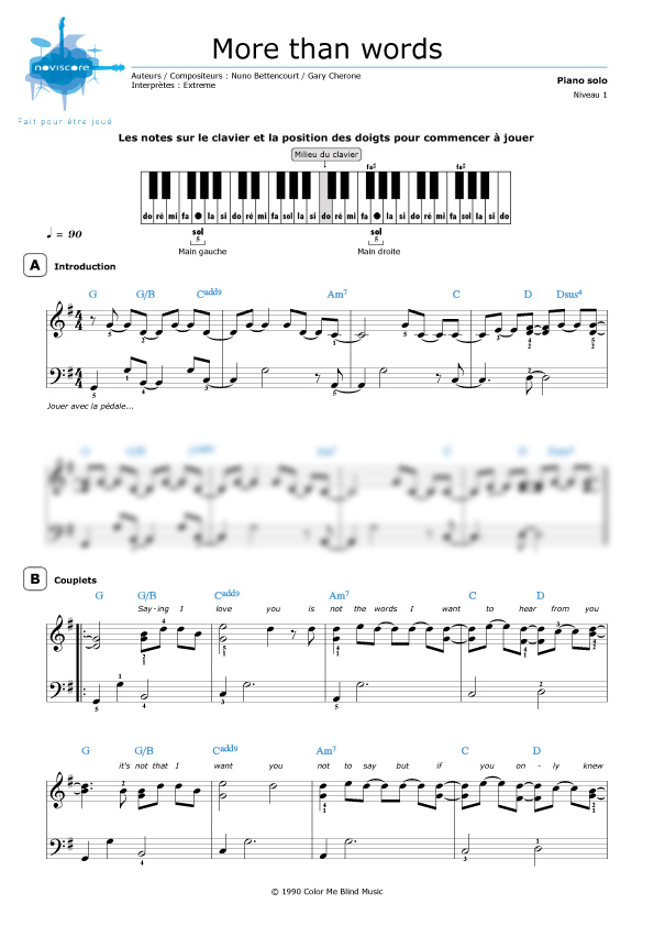 how to play more than words on piano