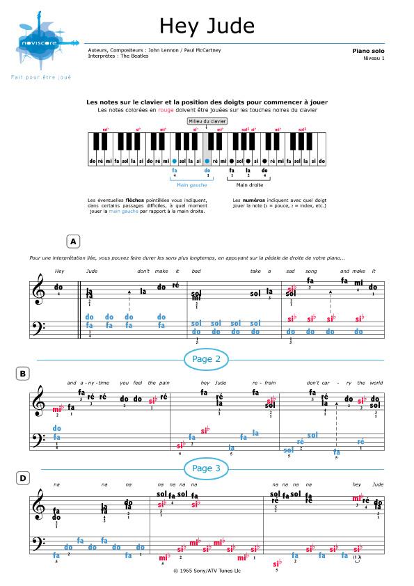 partition musique hey jude