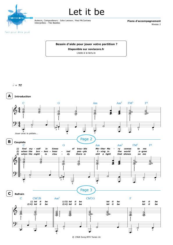 Célèbre Partition piano Let it be (The Beatles) | Partitions Noviscore JF04
