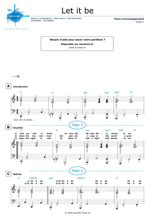 Top Partition piano Let it be (The Beatles) | Partitions Noviscore FI28