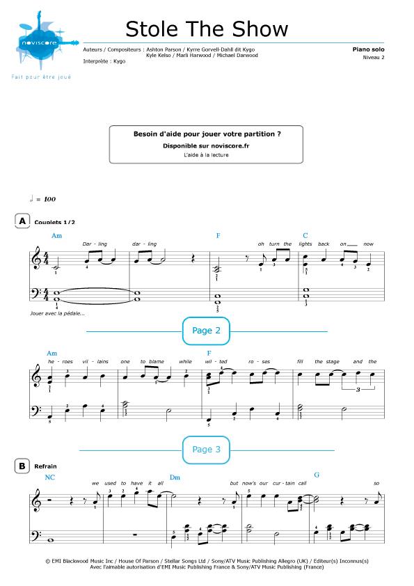 stole the show piano pdf