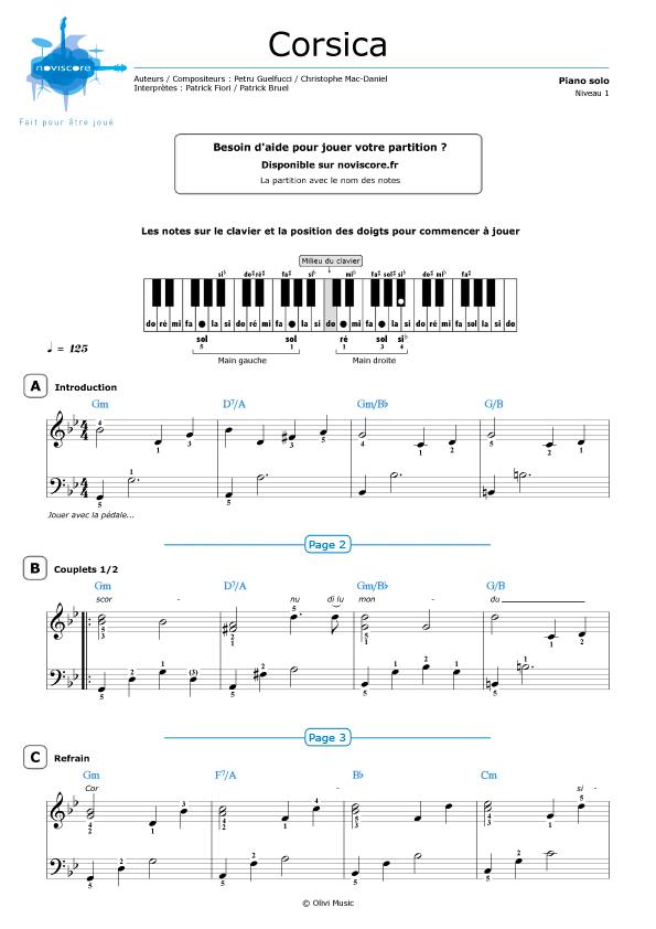 Partition piano corsica p fiori et p bruel partitions noviscore - Partition les murs porteurs ...