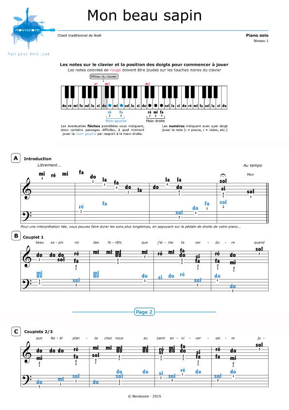 partition musique piano mon beau sapin