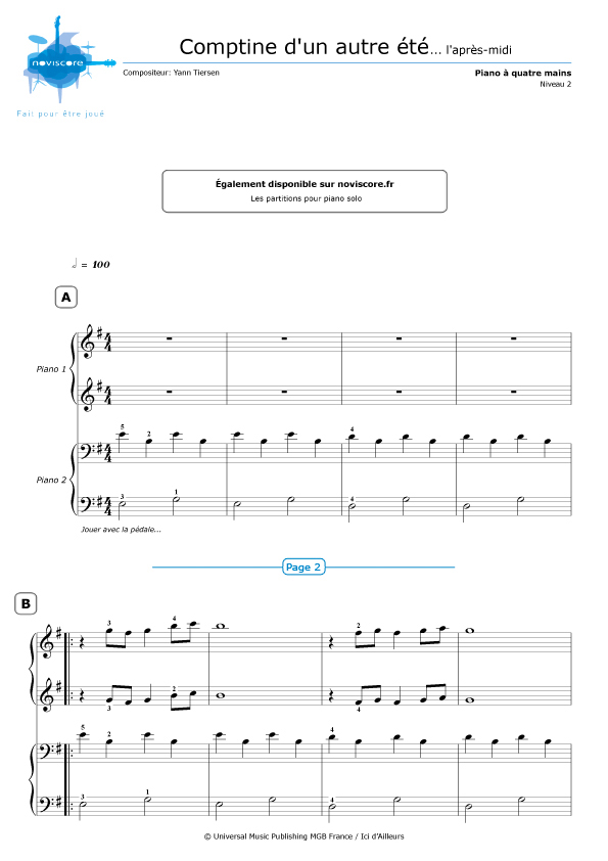 Partition piano 4 mains comptine d 39 un autre t yann for Yann tiersen la fenetre