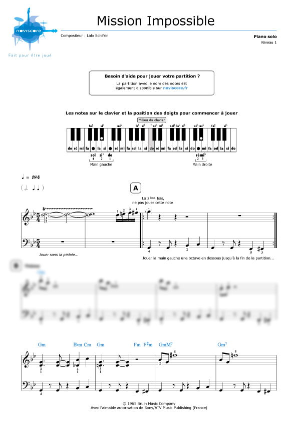 Partition musique mission impossible for Creatore facile piano piano gratuito