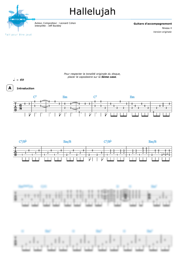 Super Tablature guitare Hallelujah (version guitare) (Jeff Buckley  JP27