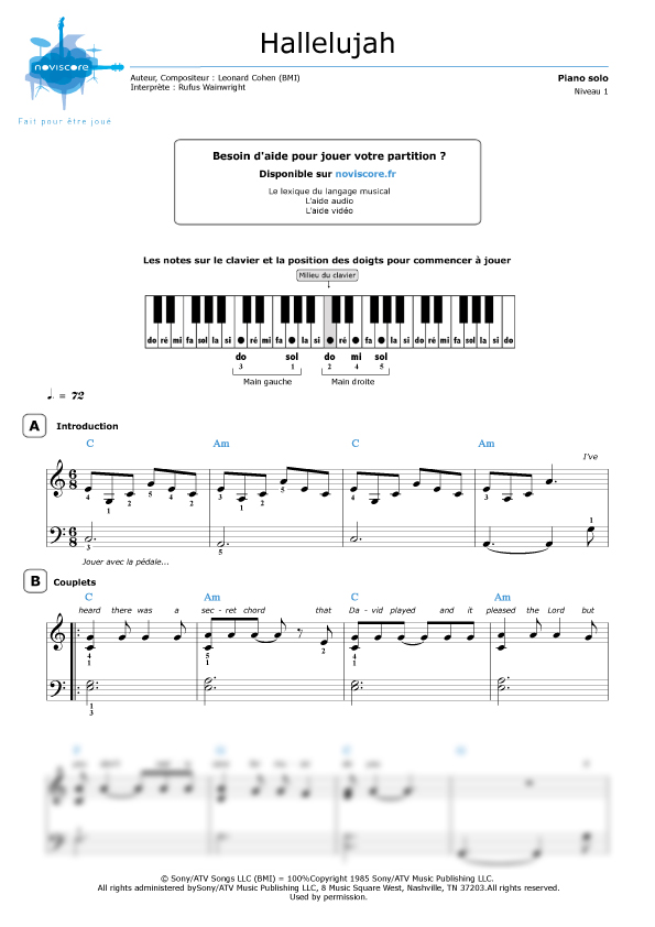 partition piano rufus wainwright hallelujah